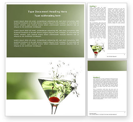 Martini Drink Word Template, 04280, Food & Beverage — PoweredTemplate.com