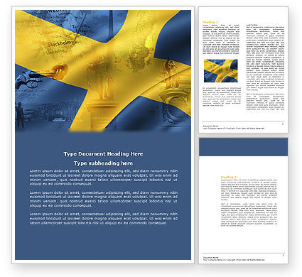 Sweden Word Template, 04305, Flags/International — PoweredTemplate.com