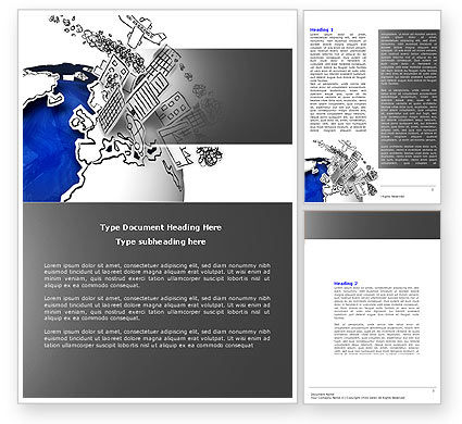 Modern Civilization Word Template, 04309, Global — PoweredTemplate.com