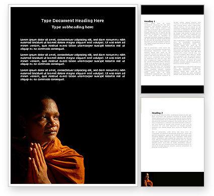 Religious/Spiritual: Buddhist Monk Word Template #04319
