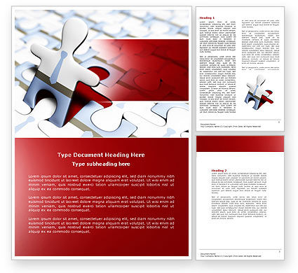 Business: Jigsaw Man Word Template #04332