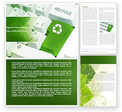 Nature & Environment: Recycling Technology Word Template #04339