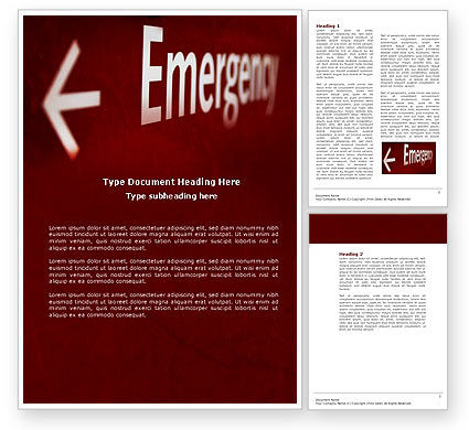 Emergency Sign Word Template, 04341, Business Concepts — PoweredTemplate.com