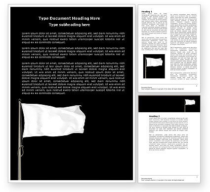 Flags/International: White Flag Word Template #04343