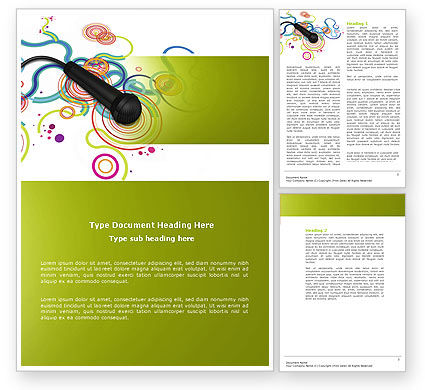 Wired Microphone Word Template, 04345, Careers/Industry — PoweredTemplate.com