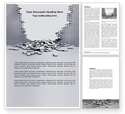 Broken Wall Word Template, 04351, Consulting — PoweredTemplate.com