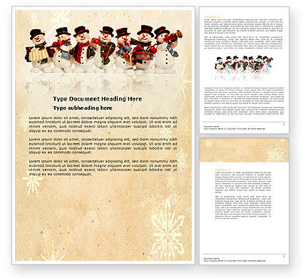 Snowmen Orchestra Word Template, 04354, Holiday/Special Occasion — PoweredTemplate.com