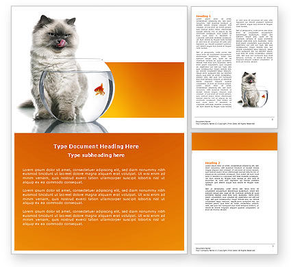 Cat and Fish Word Template, 04357, Business Concepts — PoweredTemplate.com