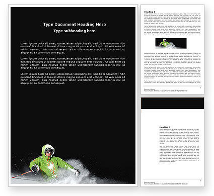 Xtreme Mountain Skiing Word Template, 04360, Sports — PoweredTemplate.com