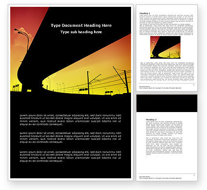 Construction: Sunset Overpass On A Highway Word Template #04368