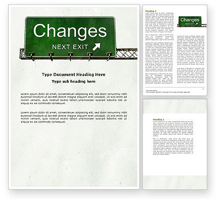 Business Concepts: Sign Change Word Template #04371