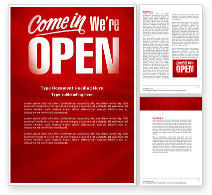 We Are Open Word Template, 04405, Careers/Industry — PoweredTemplate.com
