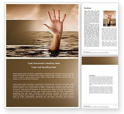 Drowning Word Template, 04407, Consulting — PoweredTemplate.com