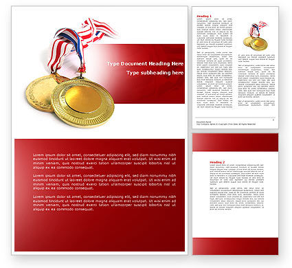 Medal Word Template, 04414, Sports — PoweredTemplate.com