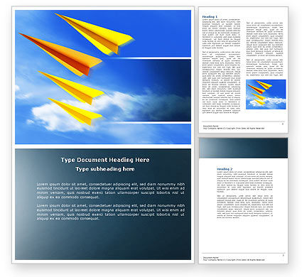 Paper Planes Word Template, 04415, Cars/Transportation — PoweredTemplate.com