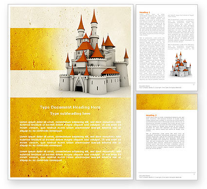 Castle Word Template, 04419, Construction — PoweredTemplate.com