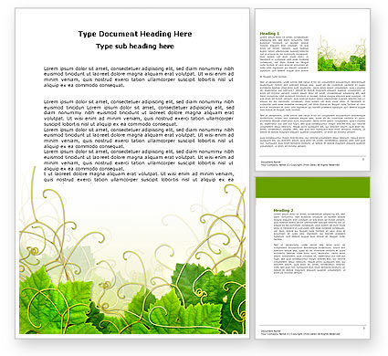 Grape Leaves Ornament Word Template, 04421, Nature & Environment — PoweredTemplate.com