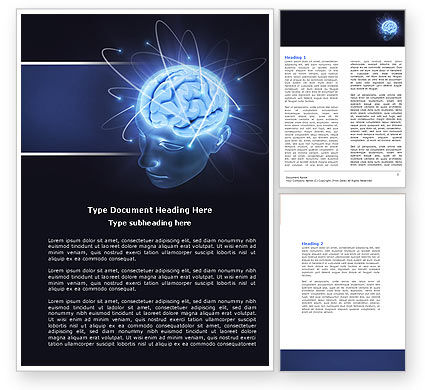 Medical: Brain Waves Word Template #04437