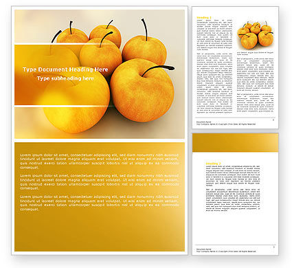 Agriculture and Animals: Yellow Apples Word Template #04439
