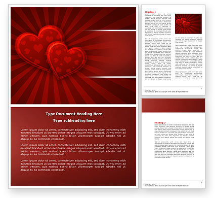 Red Hearts Word Template, 04444, Holiday/Special Occasion — PoweredTemplate.com