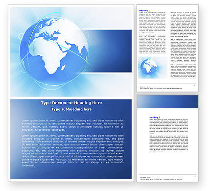 Global: Blue Globe Word Template #04456