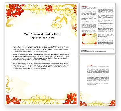 Abstract/Textures: 秋天的主题与红色的叶子Word模板 #04462