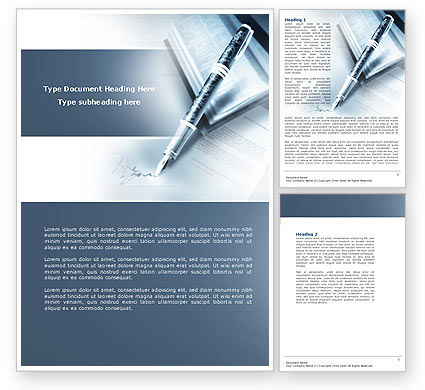 Signature In A Blue Colors Word Template, 04486, Business — PoweredTemplate.com