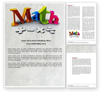 Education & Training: Math Toevoeging Word Template #04501
