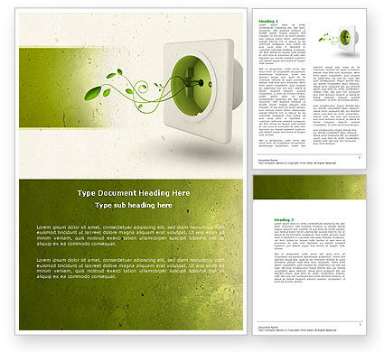 Green Socket Word Template, 04502, Careers/Industry — PoweredTemplate.com