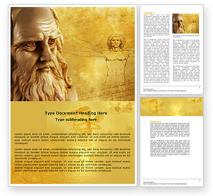 Leonardo Da Vinci Word Template, 04517, Education & Training — PoweredTemplate.com