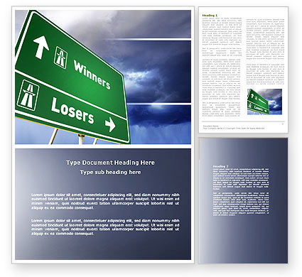 Losers and Winners Word Template, 04530, Consulting — PoweredTemplate.com