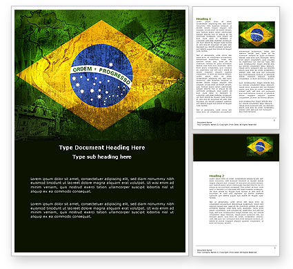 Brazilian Flag With Brazilian Silhouettes Word Template, 04538, Flags/International — PoweredTemplate.com