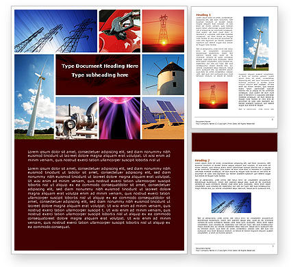 Technology, Science & Computers: Energy Supply Word Template #04540