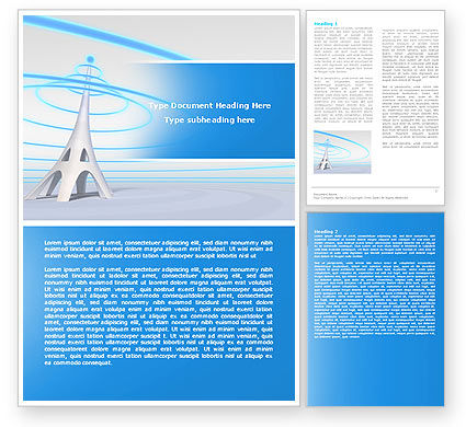 Telecommunication: Television Tower Word Template #04548