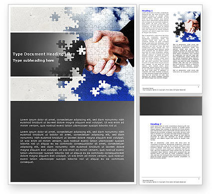 Business: Puzzle Of Partnership Word Template #04550