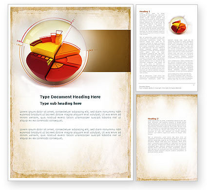 Business: 3D Pie Chart Word Template #04559