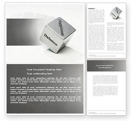 Medical: Cube Of Happiness And Balance Word Template #04564