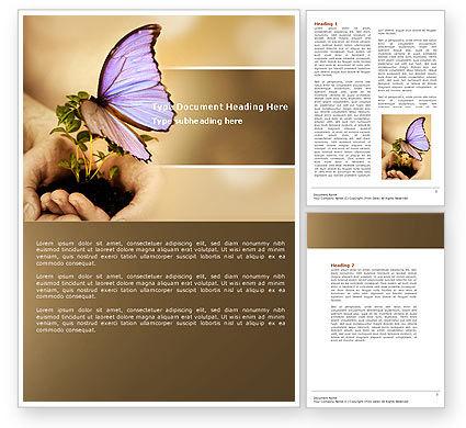 Nature & Environment: あなたの手にバタフライ - Wordテンプレート #04567