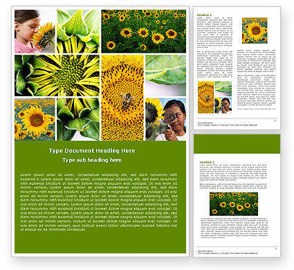 Education & Training: Sunflower Collage Word Template #04587
