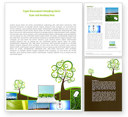 Green Solution Word Template, 04597, Nature & Environment — PoweredTemplate.com