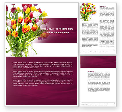 Tulips On A Purple Background Word Template, 04614, Holiday/Special Occasion — PoweredTemplate.com