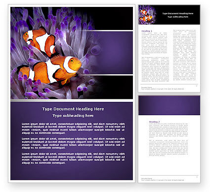 Clown Fish Word Template, 04626, Nature & Environment — PoweredTemplate.com