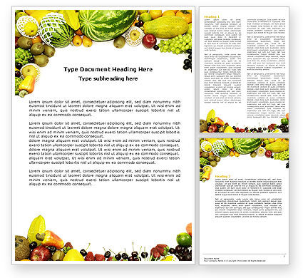 Agriculture and Animals: Fruit Overvloed Word Template #04634