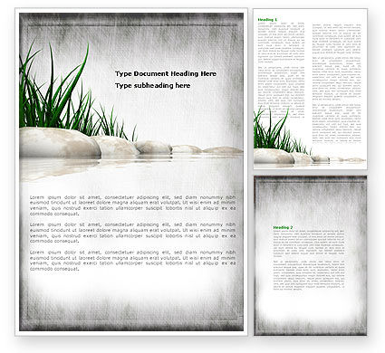 Stones and Grass Word Template, 04639, Nature & Environment — PoweredTemplate.com