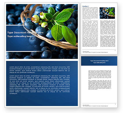 Agriculture and Animals: Bilberry Word Template #04655