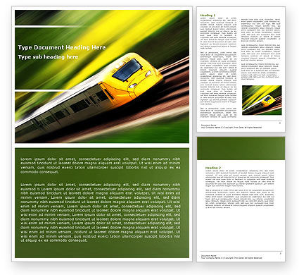 High-Speed Rail Word Template, 04659, Cars/Transportation — PoweredTemplate.com