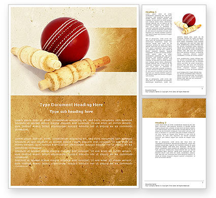 Sports: Cricket Ball Word Template #04662