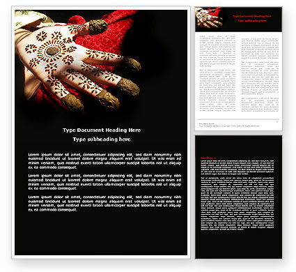 Art & Entertainment: Hennaed Hands Word Template #04669