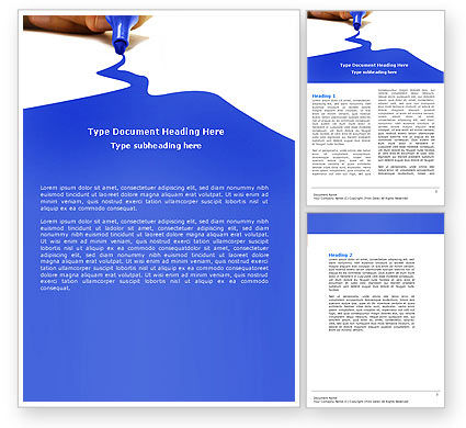 Business Concepts: Blue Marker Word Template #04685