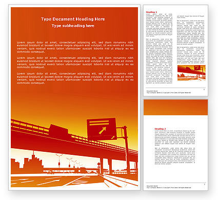 Construction: Road Way Word Template #04692